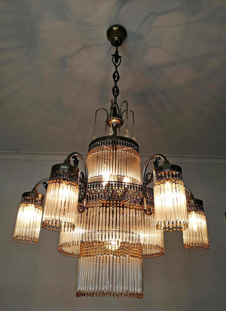 Large Art Deco Art Nouveau Amber Beaded & Clear Glass Straw, 10-Light Chandelier For Sale 1