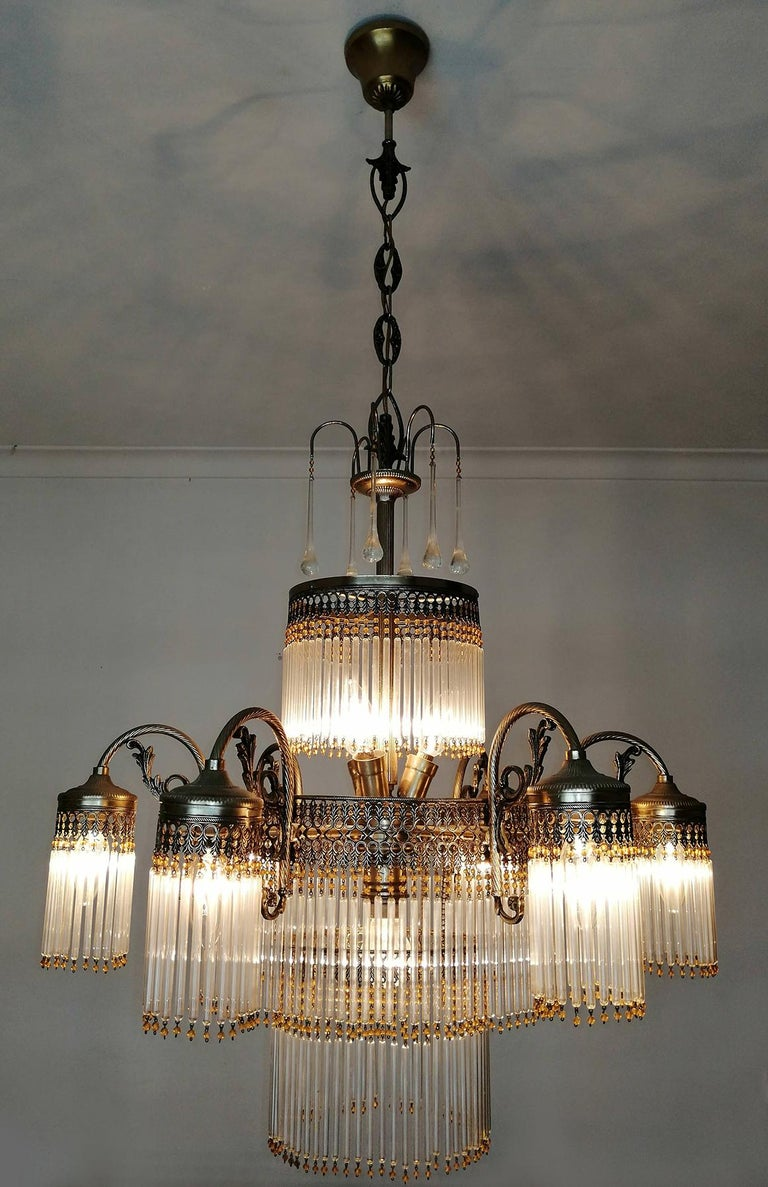Large Art Deco Art Nouveau Amber Beaded & Clear Glass Straw, 10-Light Chandelier For Sale 2