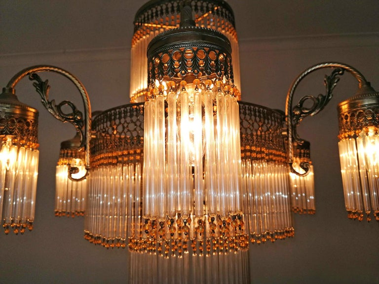Large Art Deco Art Nouveau Amber Beaded & Clear Glass Straw, 10-Light Chandelier For Sale 3