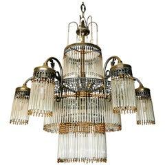 Large Art Deco Art Nouveau Amber Beaded & Clear Glass Straw, 10 Light Chandelier