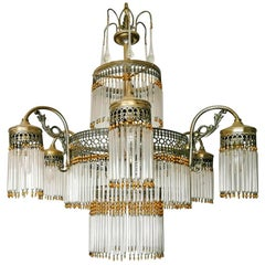 Large Art Deco Art Nouveau Amber Beaded & Clear Glass Straw, 10-Light Chandelier