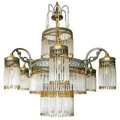 Large Art Deco Art Nouveau Amber Beaded & Clear Glass Straw, 10-Light Chandelier