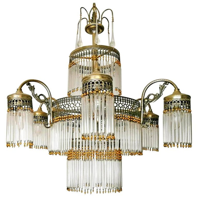 Large Art Deco Art Nouveau Amber Beaded & Clear Glass Straw, 10-Light Chandelier For Sale