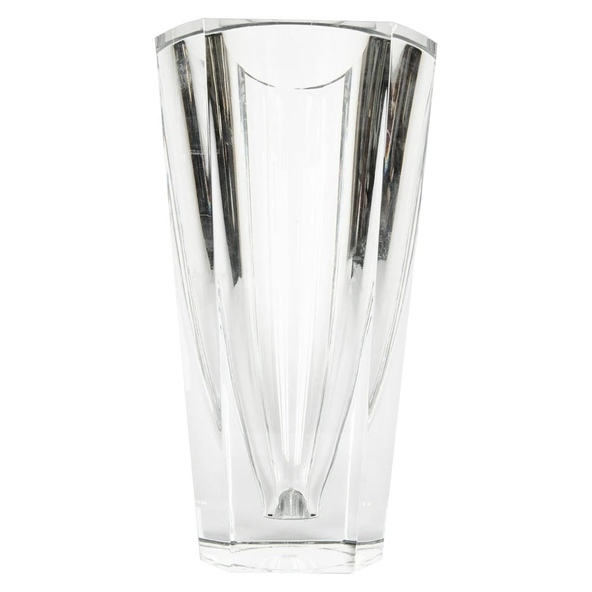 Large Art Deco Baccarat Cut Crystal Vase