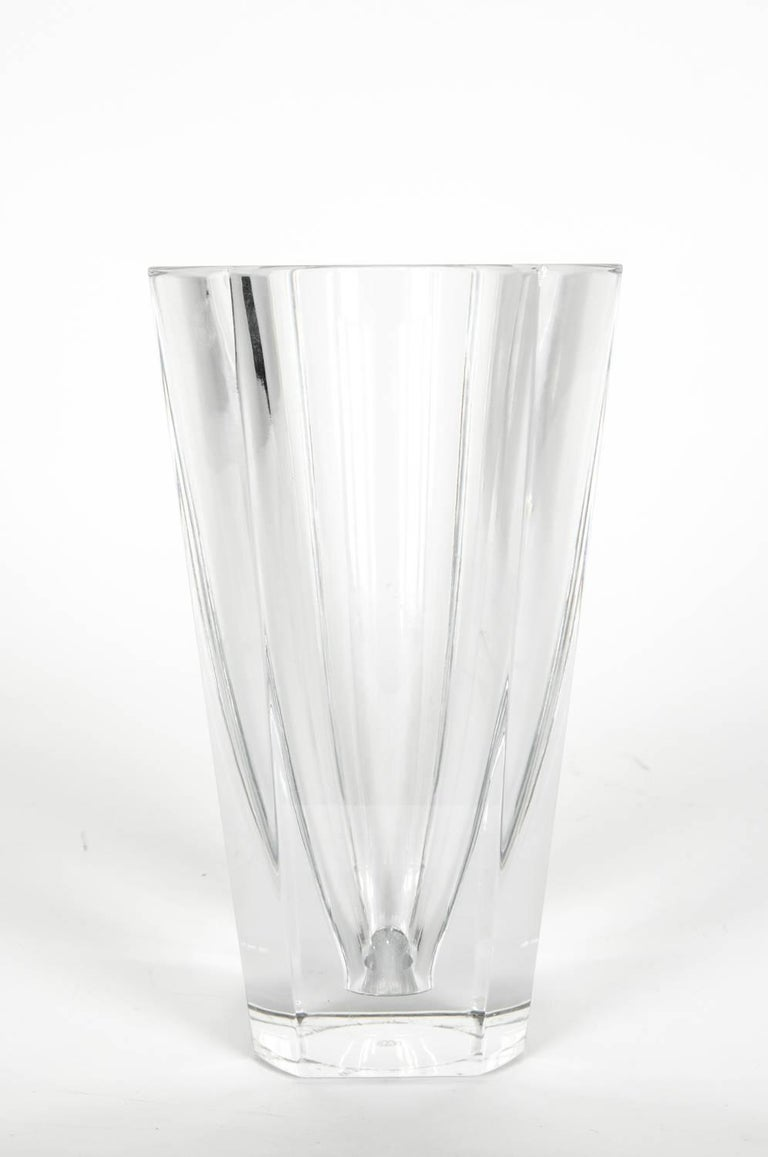 French Large Art Deco Baccarat Facet Cut Crystal Vase For Sale