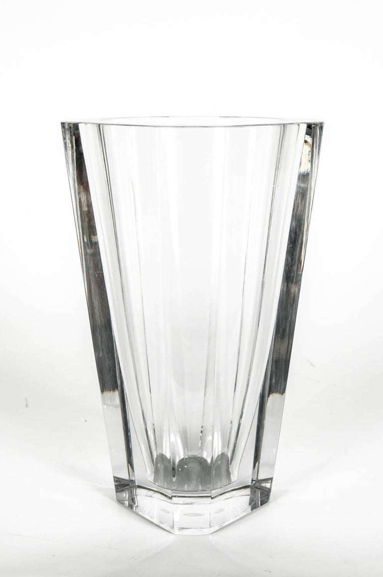 Large Art Deco Baccarat Facet Cut Crystal Vase For Sale 1
