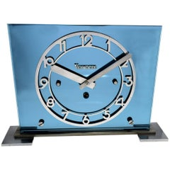 Large Art Deco Blue Mirror Modernist Clock by Vedette