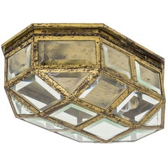 Large Art Deco Brass and Faceted Glass Flush Mount, 1920s