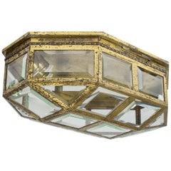Large Art Deco Brass and Faceted Glass Flush Mount, circa 1910