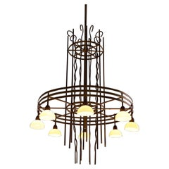 Large Art Deco Brass Chandelier, Sweden, 1930s