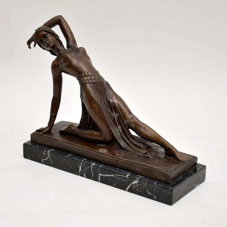 A wonderful Art Deco style bronze figure of a dancer, signed by the famous artist DH Chiparus.  This is a later recast of the original, it has some age to it and probably dates from the mid-20th century possibly 1950s-1960s.  It is beautifully