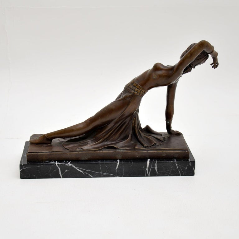 Large Art Deco Bronze Dancing Nude Figure In Good Condition For Sale In London, GB