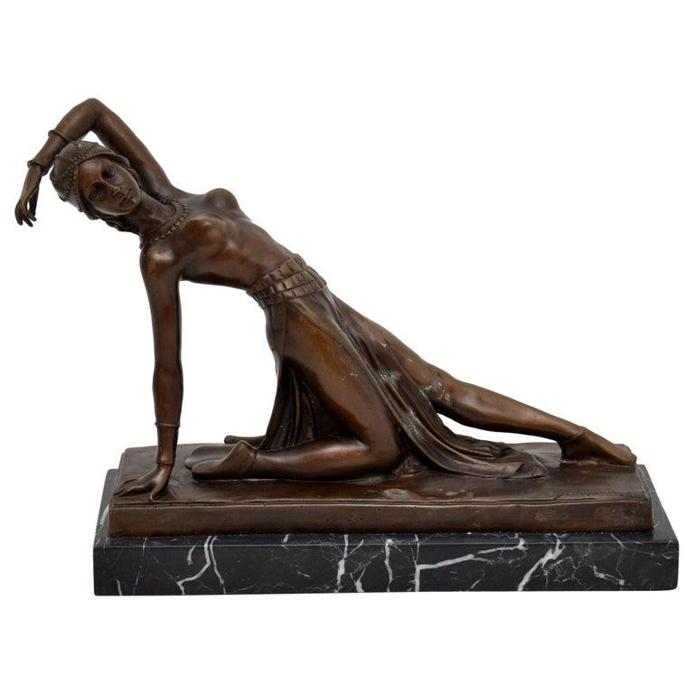 Large Art Deco Bronze Dancing Nude Figure For Sale