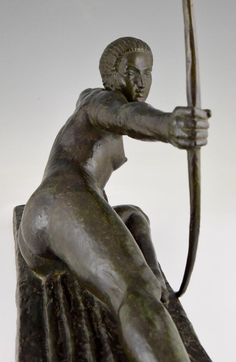 Large Art Deco Bronze Sculpture Nude with Bow Penthesilia Marcel André Bouraine For Sale 4
