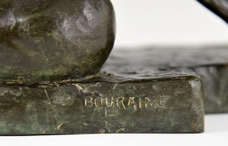 Large Art Deco Bronze Sculpture Nude with Bow Penthesilia Marcel André Bouraine For Sale 5