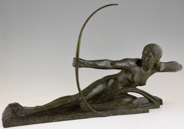 French Large Art Deco Bronze Sculpture Nude with Bow Penthesilia Marcel André Bouraine For Sale