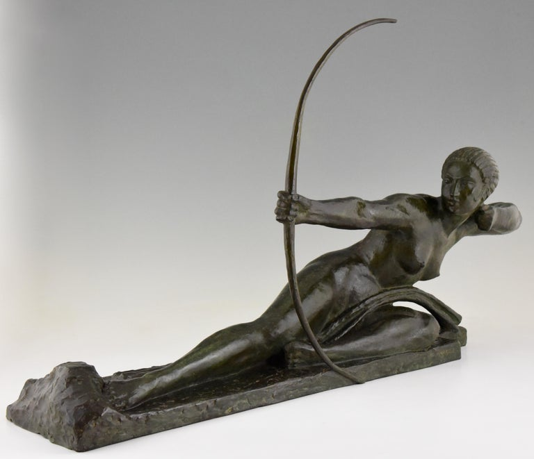 Patinated Large Art Deco Bronze Sculpture Nude with Bow Penthesilia Marcel André Bouraine For Sale