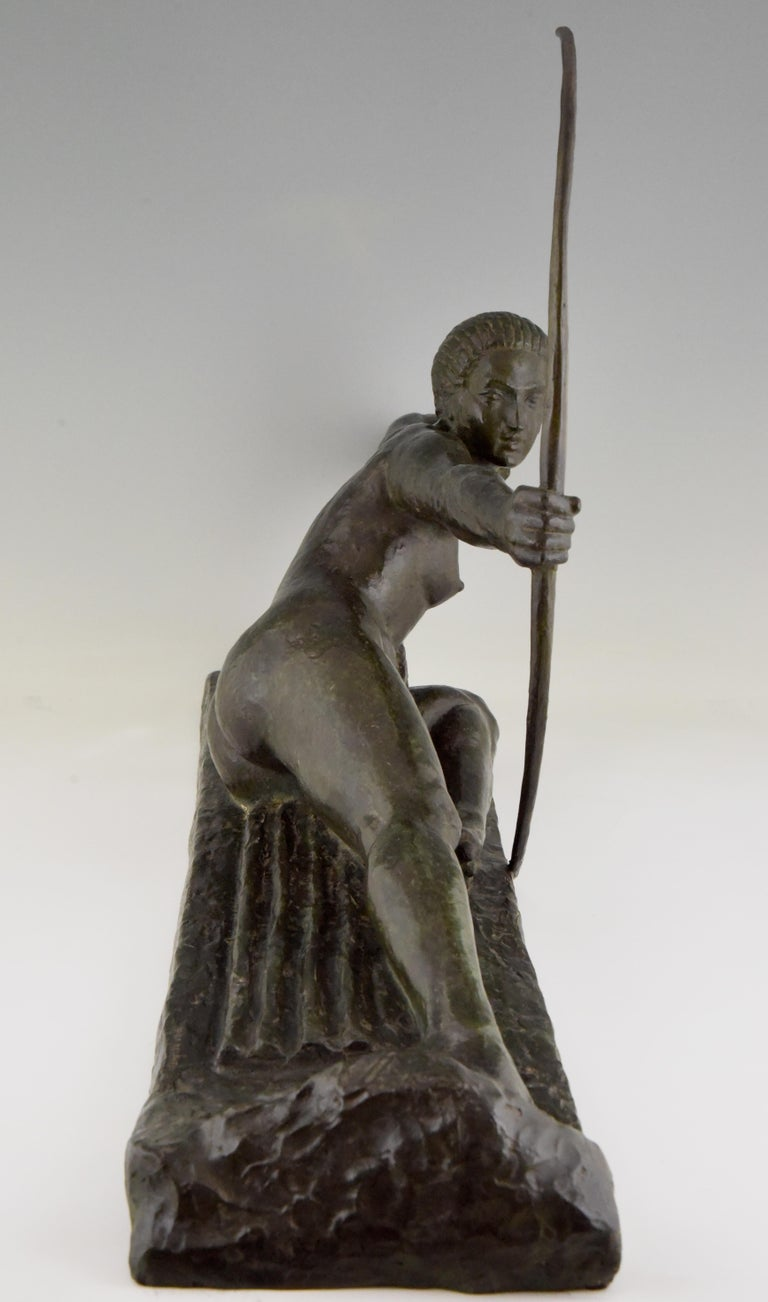 Large Art Deco Bronze Sculpture Nude with Bow Penthesilia Marcel André Bouraine In Good Condition For Sale In Antwerp, BE