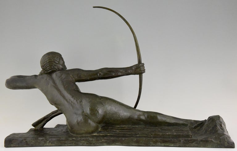 Early 20th Century Large Art Deco Bronze Sculpture Nude with Bow Penthesilia Marcel André Bouraine For Sale
