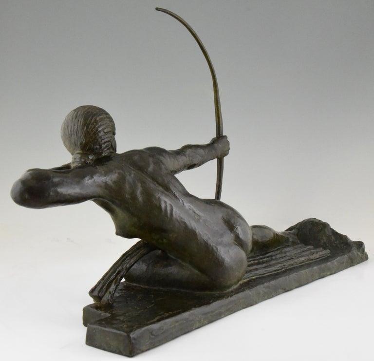 Large Art Deco Bronze Sculpture Nude with Bow Penthesilia Marcel André Bouraine For Sale 1
