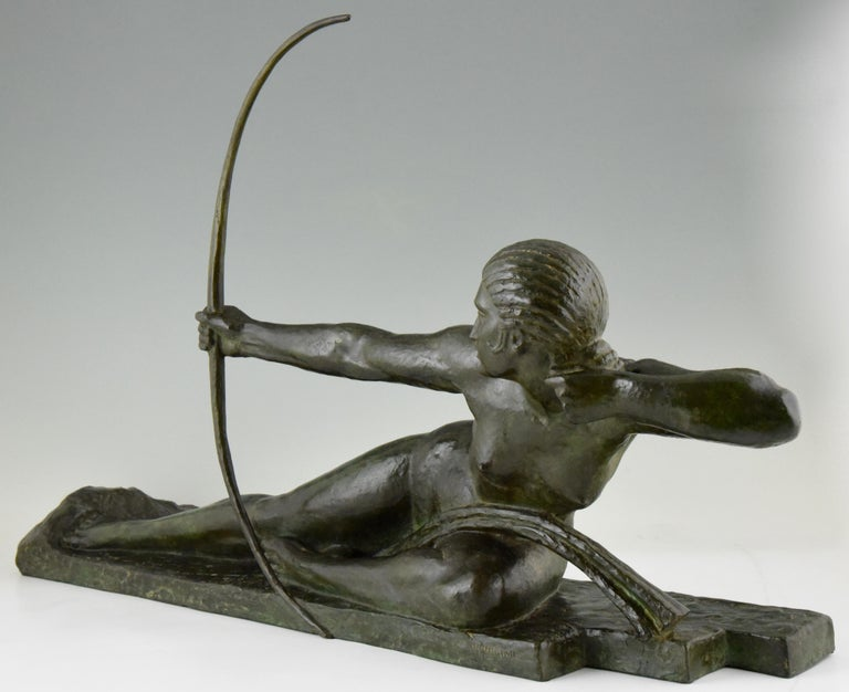 Large Art Deco Bronze Sculpture Nude with Bow Penthesilia Marcel André Bouraine For Sale 2