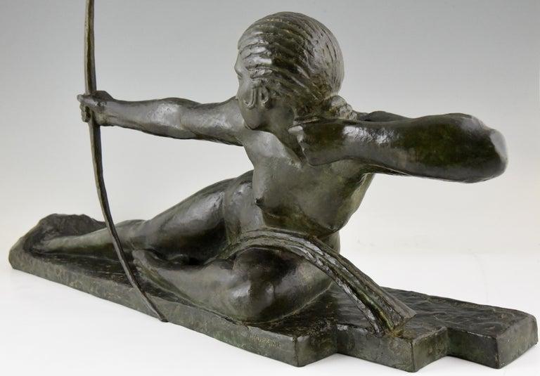 Large Art Deco Bronze Sculpture Nude with Bow Penthesilia Marcel André Bouraine For Sale 3