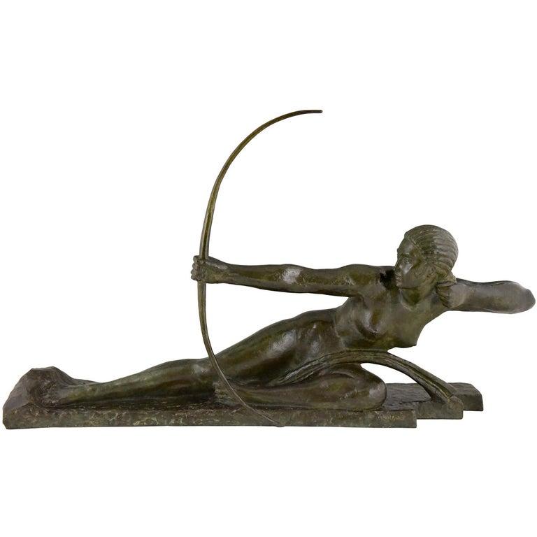 Large Art Deco Bronze Sculpture Nude with Bow Penthesilia Marcel André Bouraine For Sale