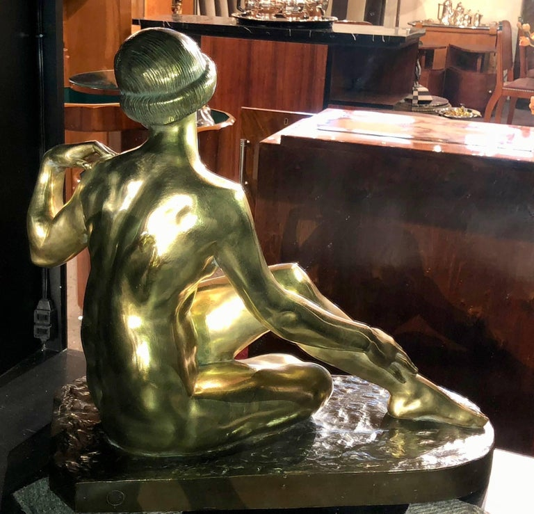 Large Art Deco Bronze Statue Marcel Bouraine