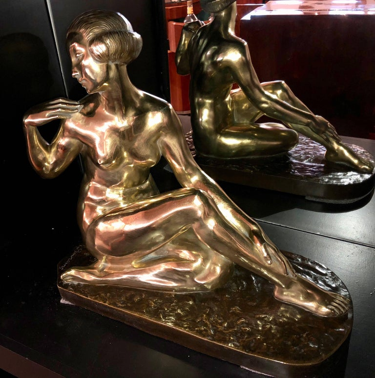 Powerful French Art Deco Bronze statue by important sculptor Marcel Bouraine. This stunning extra large bronze casting is very impressive (it appears twice the size of the largest bronzes in the shop). The shiny brass patina/finish gives this
