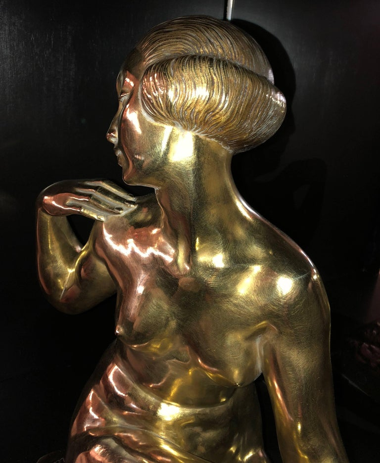 Mid-20th Century Large Art Deco Bronze Statue Marcel Bouraine