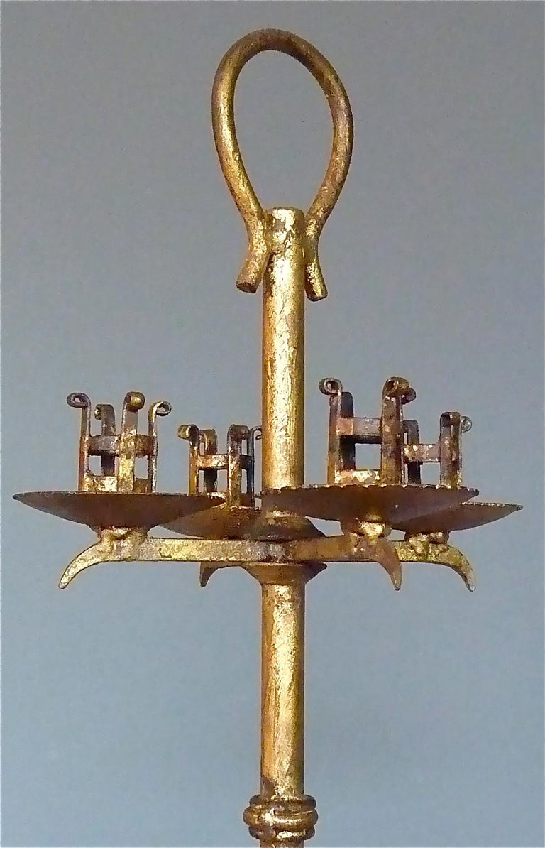 Large Art Deco Candleholder Light Gilt Wrought Iron Poillerat Style France 1930 For Sale At 1stdibs