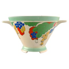 Large Art Deco Caprice Bowl in Hand Painted Porcelain, Royal Doulton, England