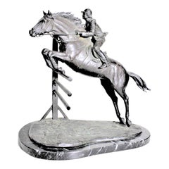 Large Art Deco Cast Bronze Horse Jumping & Rider or Steeplechase Sculpture