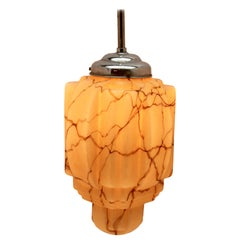 Large Art Deco Ceiling Lamp, Geometric Glass Shade in Caramel and Cappuccino