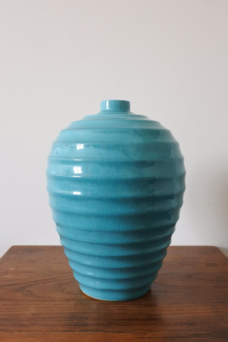 French Large Art Deco Ceramic Vase by Primavera, France 1930s For Sale