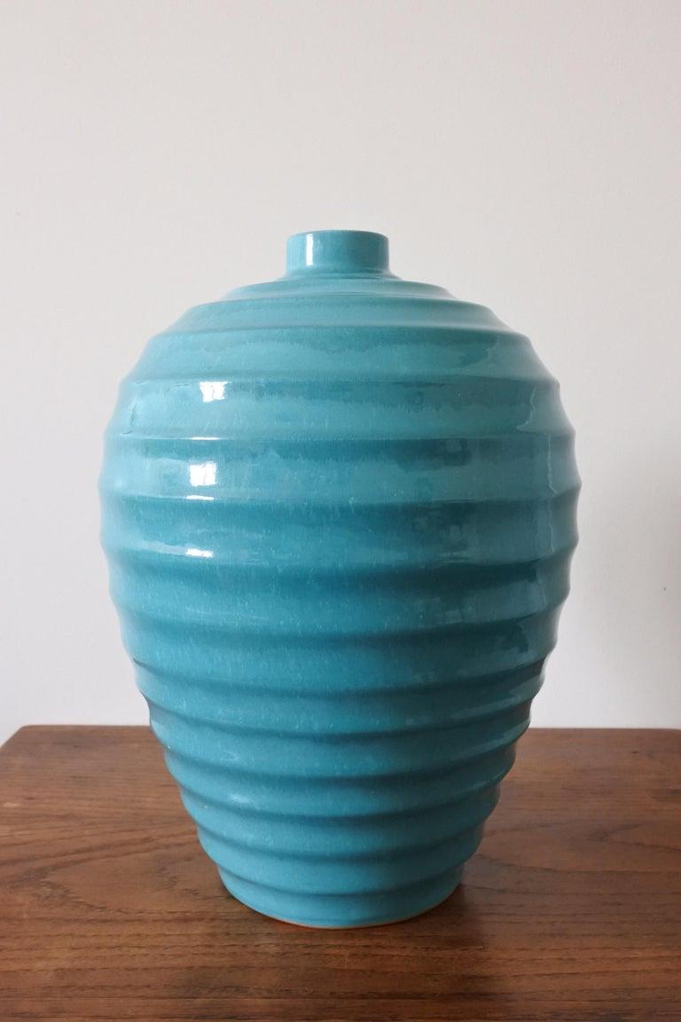 Enameled Large Art Deco Ceramic Vase by Primavera, France 1930s For Sale