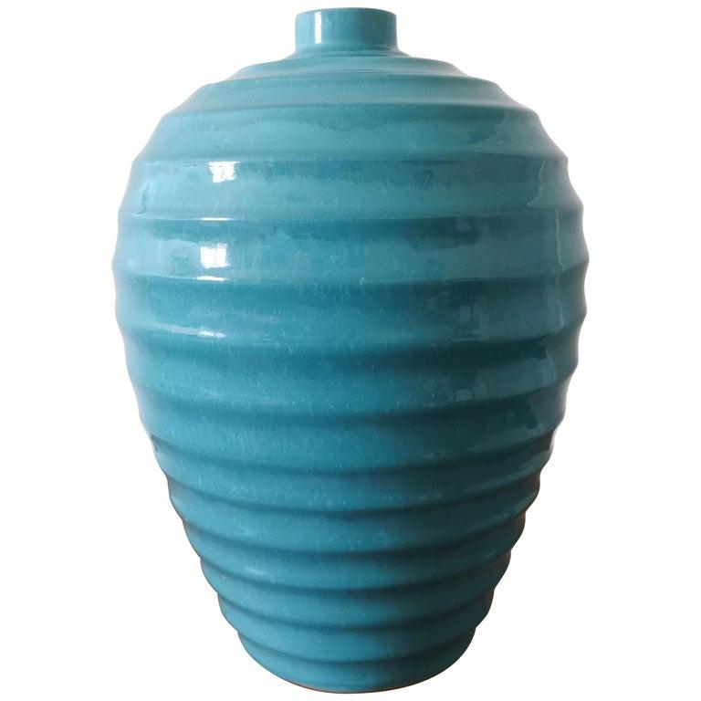 Large Art Deco Ceramic Vase by Primavera, France 1930s For Sale