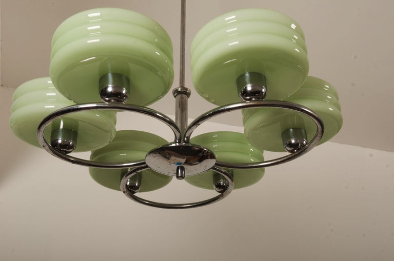 Large Art Deco Chrome Chandelier In Good Condition For Sale In Vienna, AT