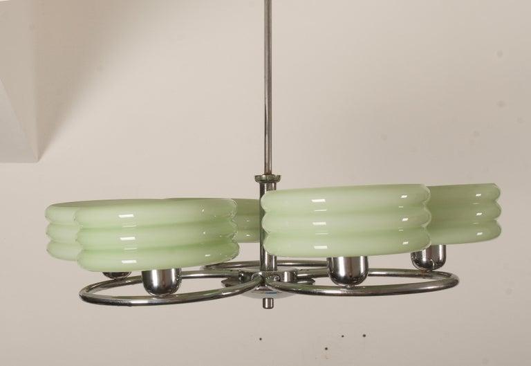 Art Glass Large Art Deco Chrome Chandelier For Sale
