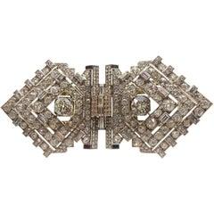 Large Art Deco Diamond Dress Clip Brooch