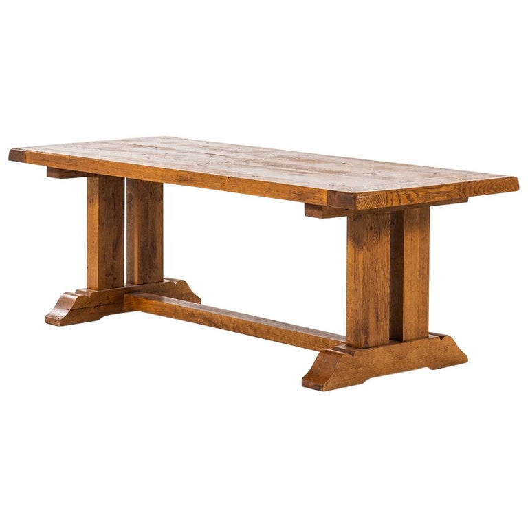Large Art Deco Dining Table In Mive Oak