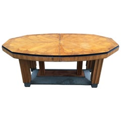 Large Art Deco Dining Table with Marquetry Design on the Top, circa 1925-1930