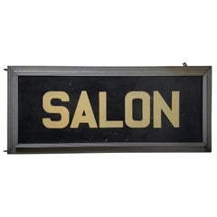"Large Art Deco Double-Sided Light Up ""SALON"" Sign"