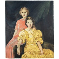 Large Art Deco Fashion Portrait of Two Women by Georges LaChance