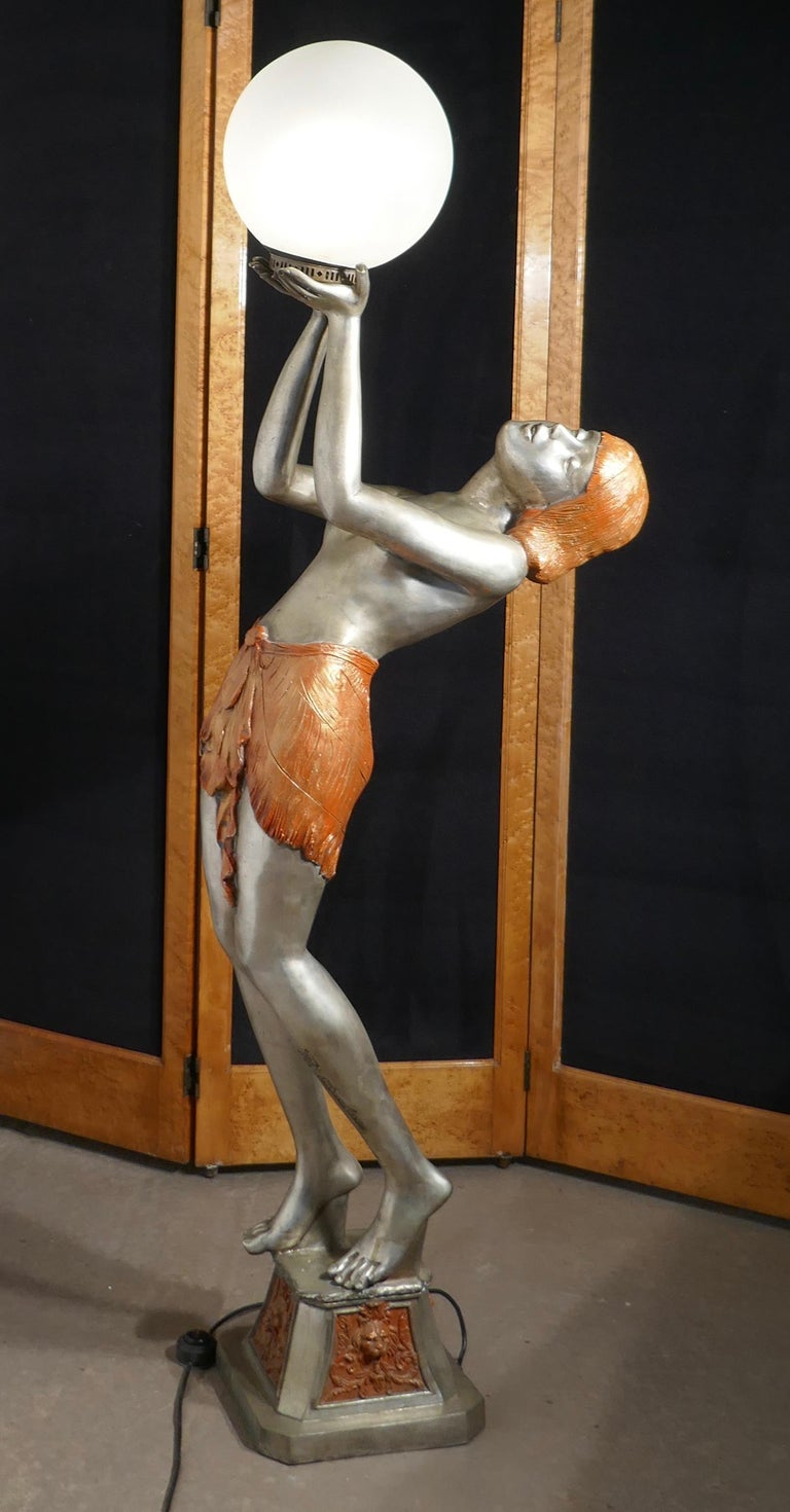 Large Art Deco Female Sculpture Floor Lamp, after Auguste Moreau Signed In Good Condition For Sale In Chillerton, Isle of Wight