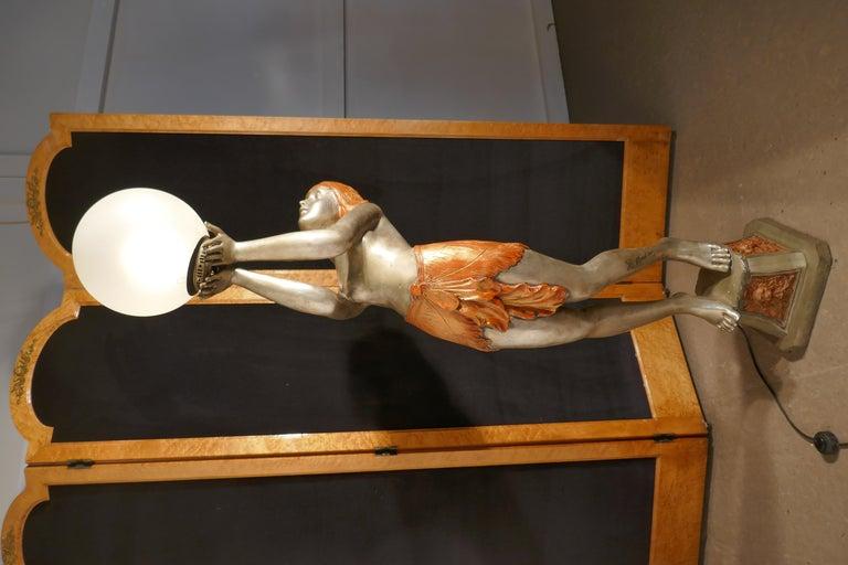 20th Century Large Art Deco Female Sculpture Floor Lamp, after Auguste Moreau Signed For Sale