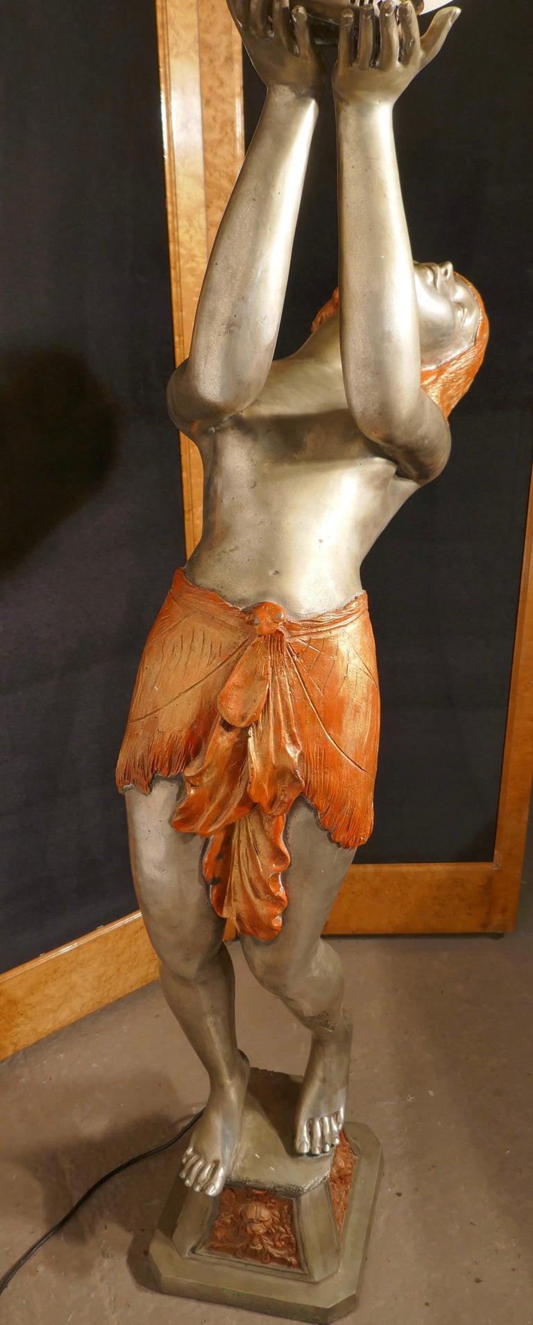 Brass Large Art Deco Female Sculpture Floor Lamp, after Auguste Moreau Signed For Sale