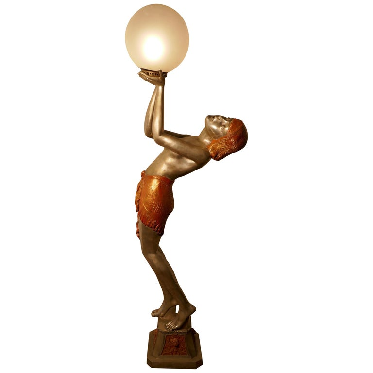 Large Art Deco Female Sculpture Floor Lamp, after Auguste Moreau Signed For Sale