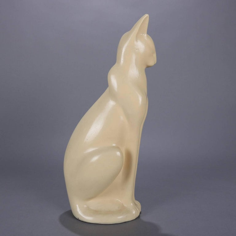 Large Art Deco Figural Ceramic Sculpture of Siamese Cat, circa 1930 In Good Condition For Sale In Big Flats, NY
