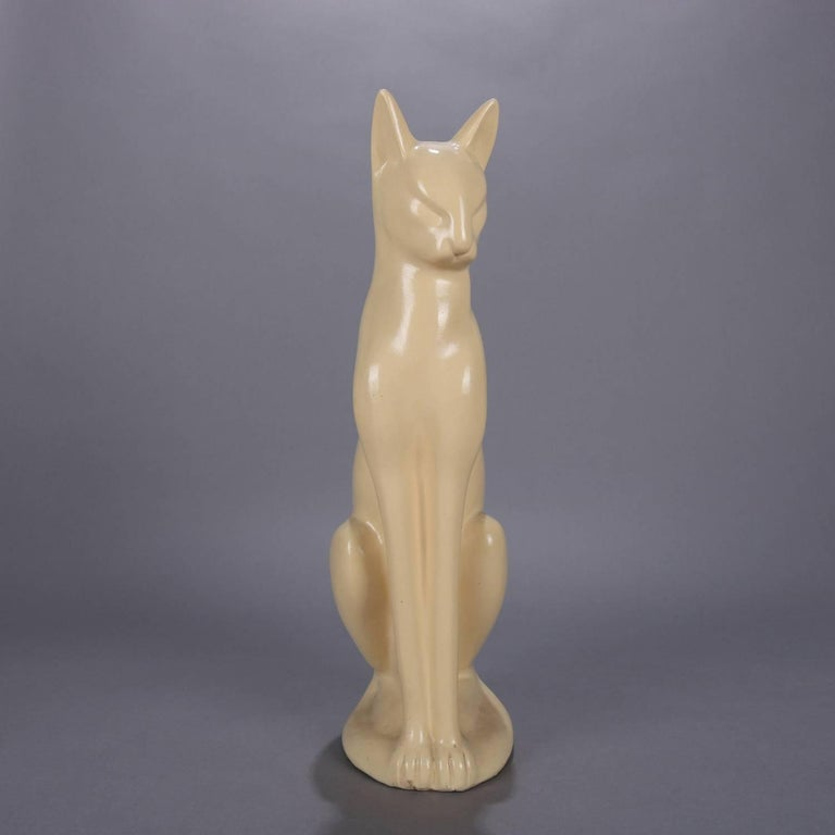 Large Art Deco Figural Ceramic Sculpture of Siamese Cat, circa 1930 For Sale 1